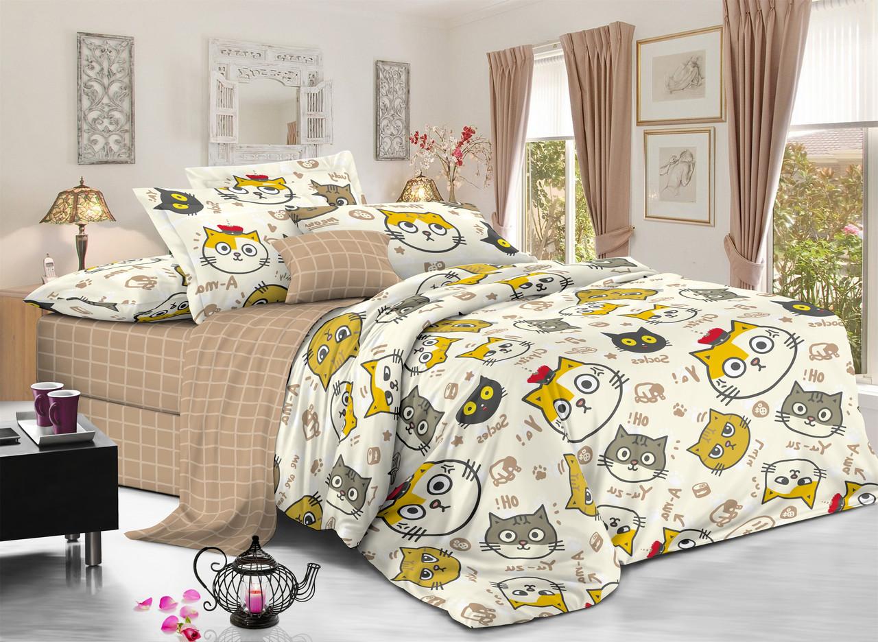 Семейный комплект постельного белья сатин (11386) TM КРИСПОЛ Украина
