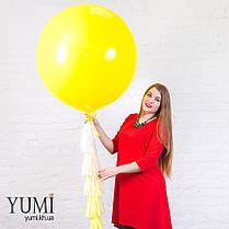 Красивый желтый шар-гигант с гелием и с гирляндой для ребенка , фото 3