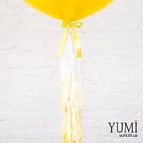 Красивый желтый шар-гигант с гелием и с гирляндой для ребенка , фото 2