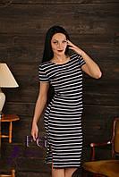 Модное платье в полоску 46-48, темно-синий