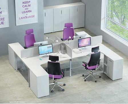 Рабочее место 4х офисных сотрудников со шкафом М1