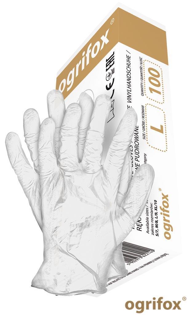 Вінілові рукавички робочі Ogrifox OX-VIN W