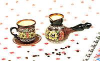 """Кофейный Украинский набор из керамики """"весенний кофе"""", кофейные наборы ручной работы"""