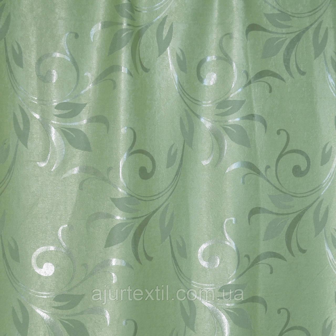 """Штора Блекаут """"Королівські пелюстки зелень"""" світлонепроникні штори"""