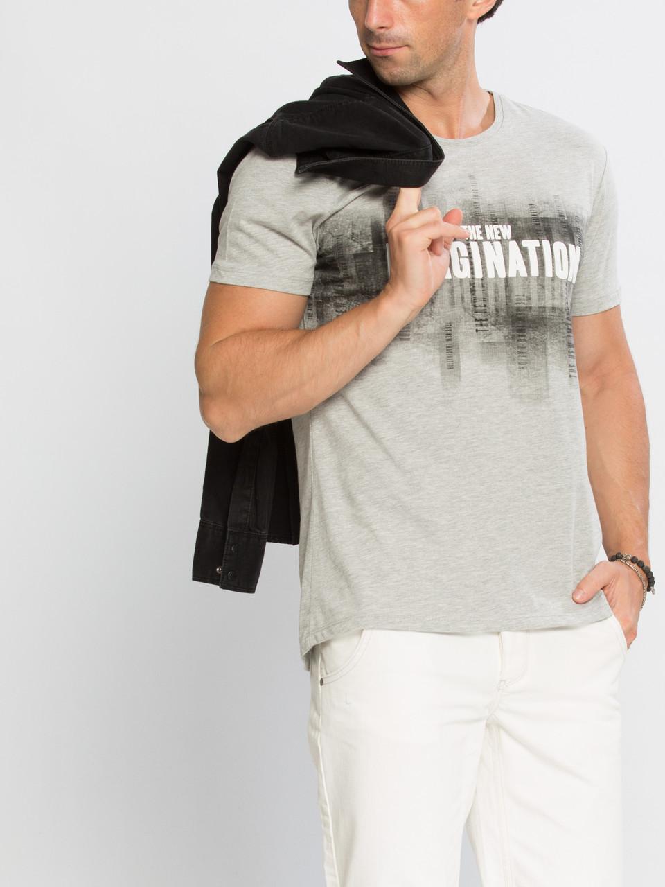 Серая мужская футболка LC Waikiki / ЛС Вайкики с надписью The New Imagination