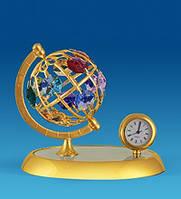 """Позолоченная фигурка с часами """"Глобус"""" с кристаллами Сваровски"""