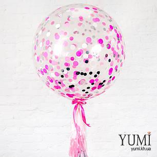 Нежный гелиевый шар-гигант с конфетти и гирляндой для девушки, фото 2