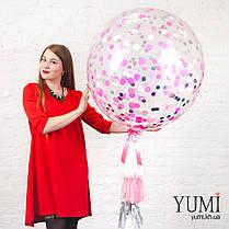 Нежный гелиевый шар-гигант с конфетти и гирляндой для девушки, фото 3