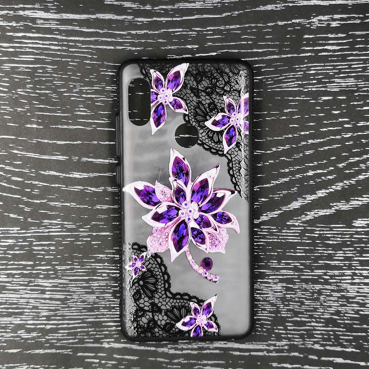 Чехол накладка для Xiaomi Redmi Note 5 Pro | Xiaomi Redmi Note 5 силиконовый Rock Series, Фиолетовый цветок