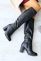 Сапоги мужские весенние высокие стильные из натуральной кожи на высоком каблуке (черные)