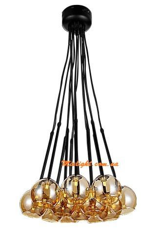 Люстра нити, светильник нити подвесной с 12 шарами плафонами LV