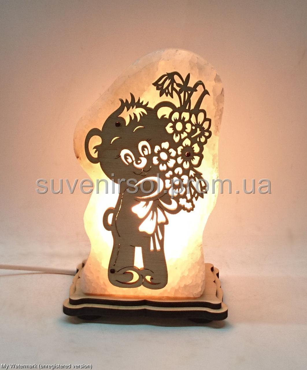 Соляная лампа Мишка с цветами