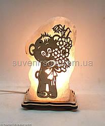 Соляна лампа Ведмедик з квітами
