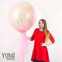 Нежный гелиевый шар-гигант с конфетти и фатином для девушки, фото 3
