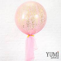 Нежный гелиевый шар-гигант с конфетти и фатином для девушки, фото 2