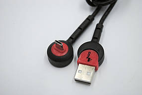 Кабель Micro USB 4you Angara (2000mah, tpe, 90град, micro 2х стор.,подставка,черный)