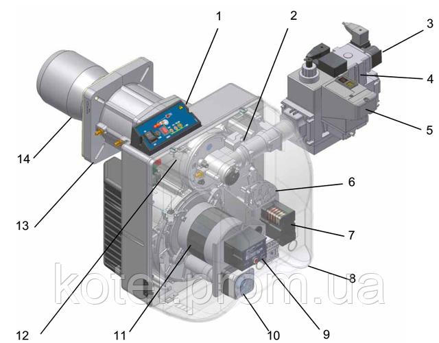 Конструкция газовой одноступенчатой горелки Unigas NG 400 TN