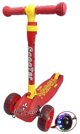 Детский самокат Scooter Mini Smart - Трехколесный самокат со складной ручкой, светящиеся колеса - Красный, фото 2