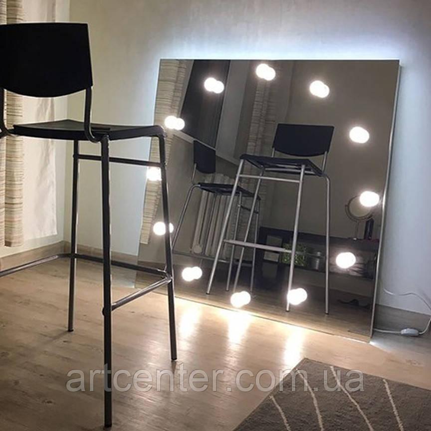 Зеркало квадратное без рамы с цоколями для ламп