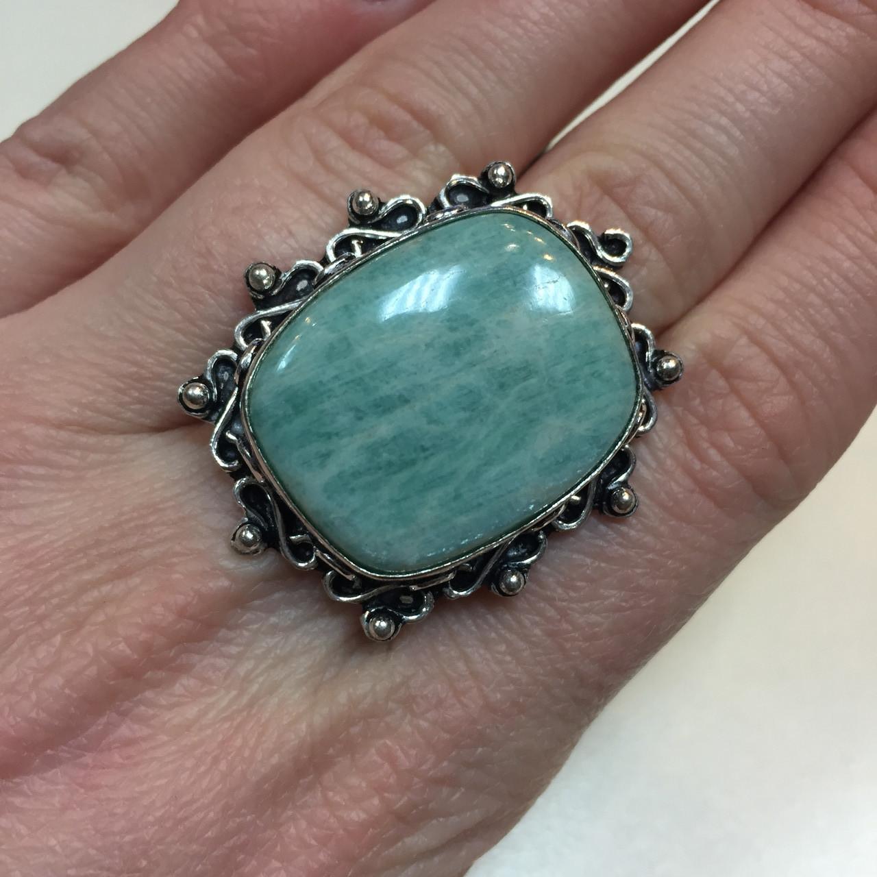 Амазонит кольцо с натуральным амазонитом в серебре 18 размер Индия