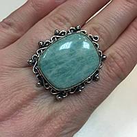 Амазонит кольцо с натуральным амазонитом в серебре 18 размер Индия, фото 1