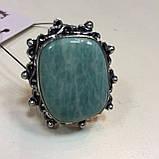 Амазонит кольцо с натуральным амазонитом в серебре 18 размер Индия, фото 2