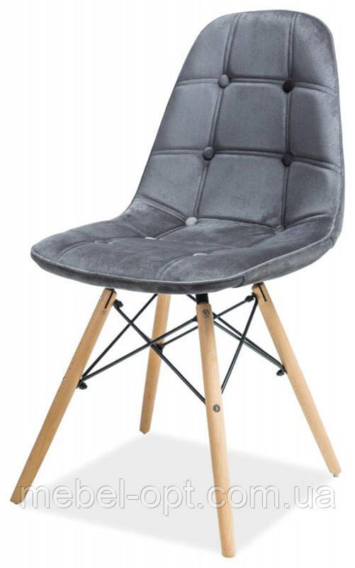 Стул Pixel (Пиксель) серый велюр на деревянных ножках, скандинавский стиль, дизайнCharles Eames