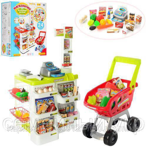 Детский супермаркет. Тележка. Кассовый аппарат. Работает на батарейках. 668-01-03