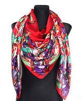 Шелковый платок Fashion Колибри 135*135 см красный, фото 1