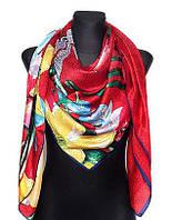 Шелковый платок Италия 135*135 красный, фото 1