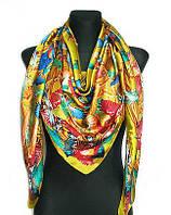 Шелковый платок Колибри, 135*135 см, оливковый, фото 1