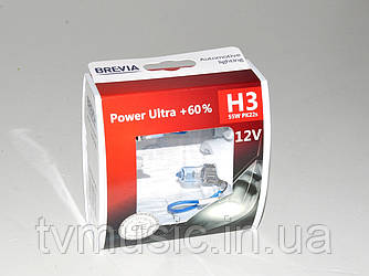 Комплект галогенных ламп Brevia H3 Power Ultra +60% (12030PUS)