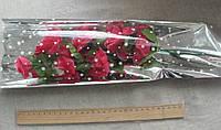 Пакет для букета цветов целлофановый, конус с рисунком и серебристой основой 6 х 24 х 60 см. 50 шт, фото 1
