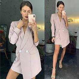 Стильное платье-пиджак цвета пудры