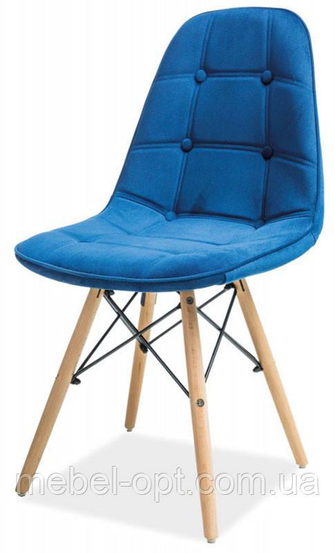 Стул Pixel (Пиксель) голубой велюр на деревянных ножках, скандинавский стиль, дизайнCharles Eames