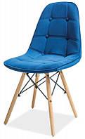 Стул Pixel (Пиксель) голубой велюр на деревянных ножках, скандинавский стиль, дизайнCharles Eames, фото 1