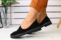 Туфли женские из натуральной замши на плоской подошве в черном цвете