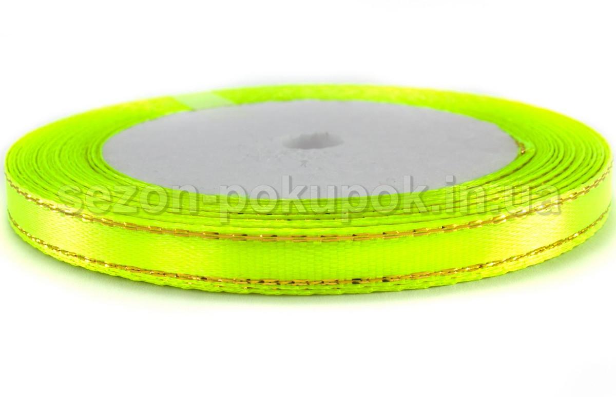 (Люрекс) Лента атласная с золотым люрексом ширина 0,6 см. (23 метра). Цвет лимонный яркий