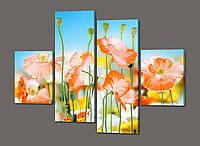 Модульная картина Цветы в стиле ню 120*93 см  Код: 440.4к.120