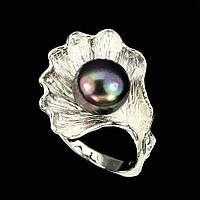 Кольцо натуральный Жемчуг. Серебро 925, покрытие белым золотом. Размер 19,5, фото 1