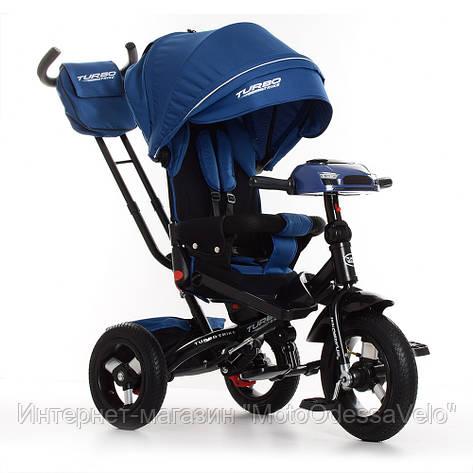 Трехколесный велосипед-коляска Turbo trike M 4060-11 темно-синий, фото 2