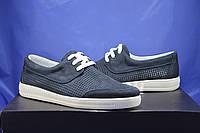 Мужские криперы, мокасины на шнурках натуральный нубук синие на белой подошве перфорацией Vlad XL, фото 1