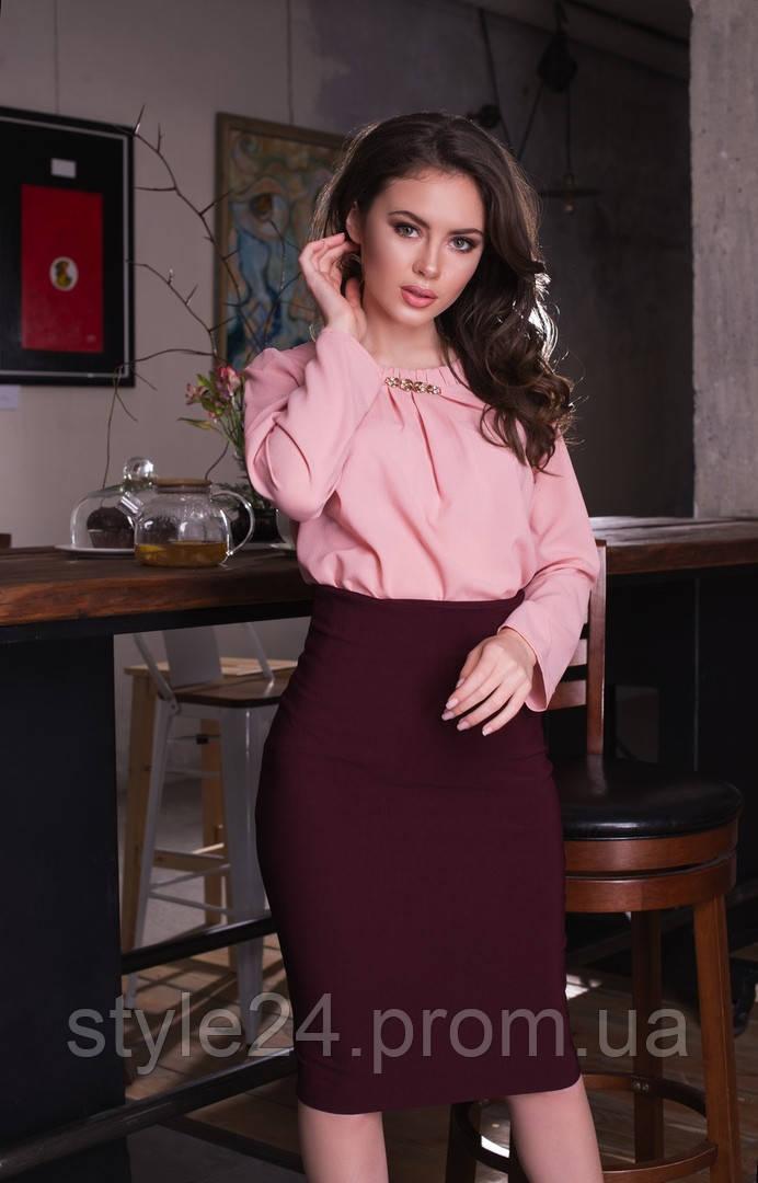 ЖІноча шифонова блуза з прикрасою  Р-ри 42-48