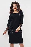 """Трикотажное платье """"Felder"""" с накладными карманами из сетки (большие размеры)"""
