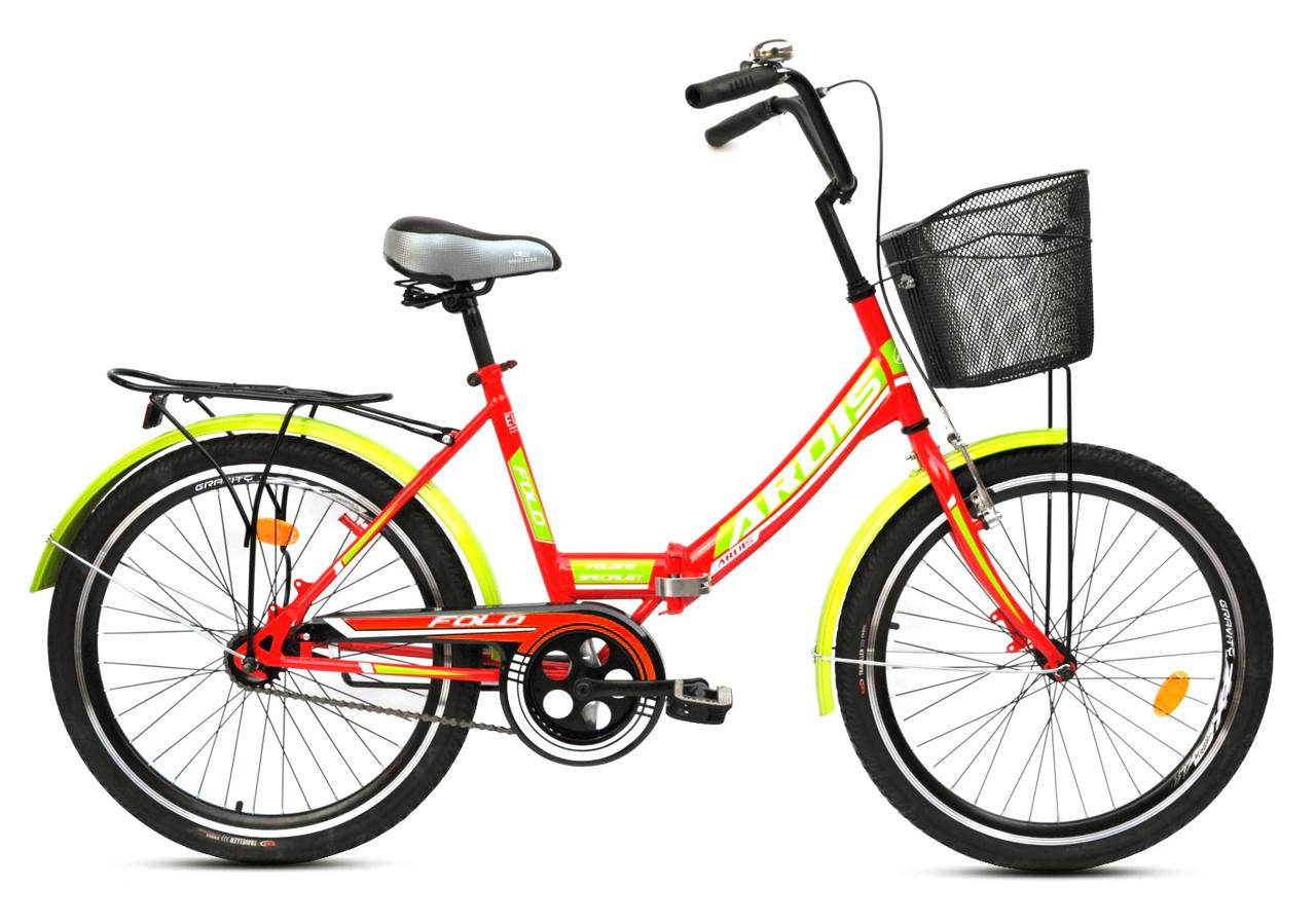 """Складной велосипед ARDIS FOLD 24"""" Салатовый/Красный"""