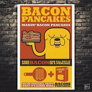 Постер Время Приключений, Adventure Time (bacon pancakes). Размер 60x39см (A2). Глянцевая бумага
