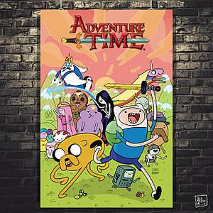 Постер Время Приключений, Adventure Time. Размер 60x39см (A2). Глянцевая бумага