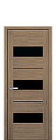 Межкомнатные двери Новый стиль Лилу blk  с черным стеклом  дуб медовый