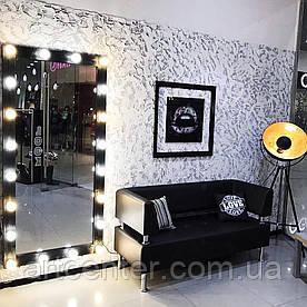 Настенное зеркало черного цвета с цоколями для ламп (20шт)