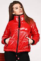 Ультрамодная Глянцевая Куртка на Весну с Широким Горлом Красная